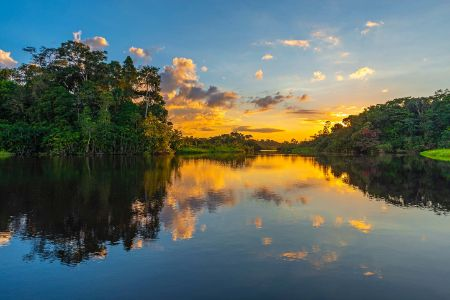 Bolivie - Amazon - Coucher de soleil sur le fleuve Amazon