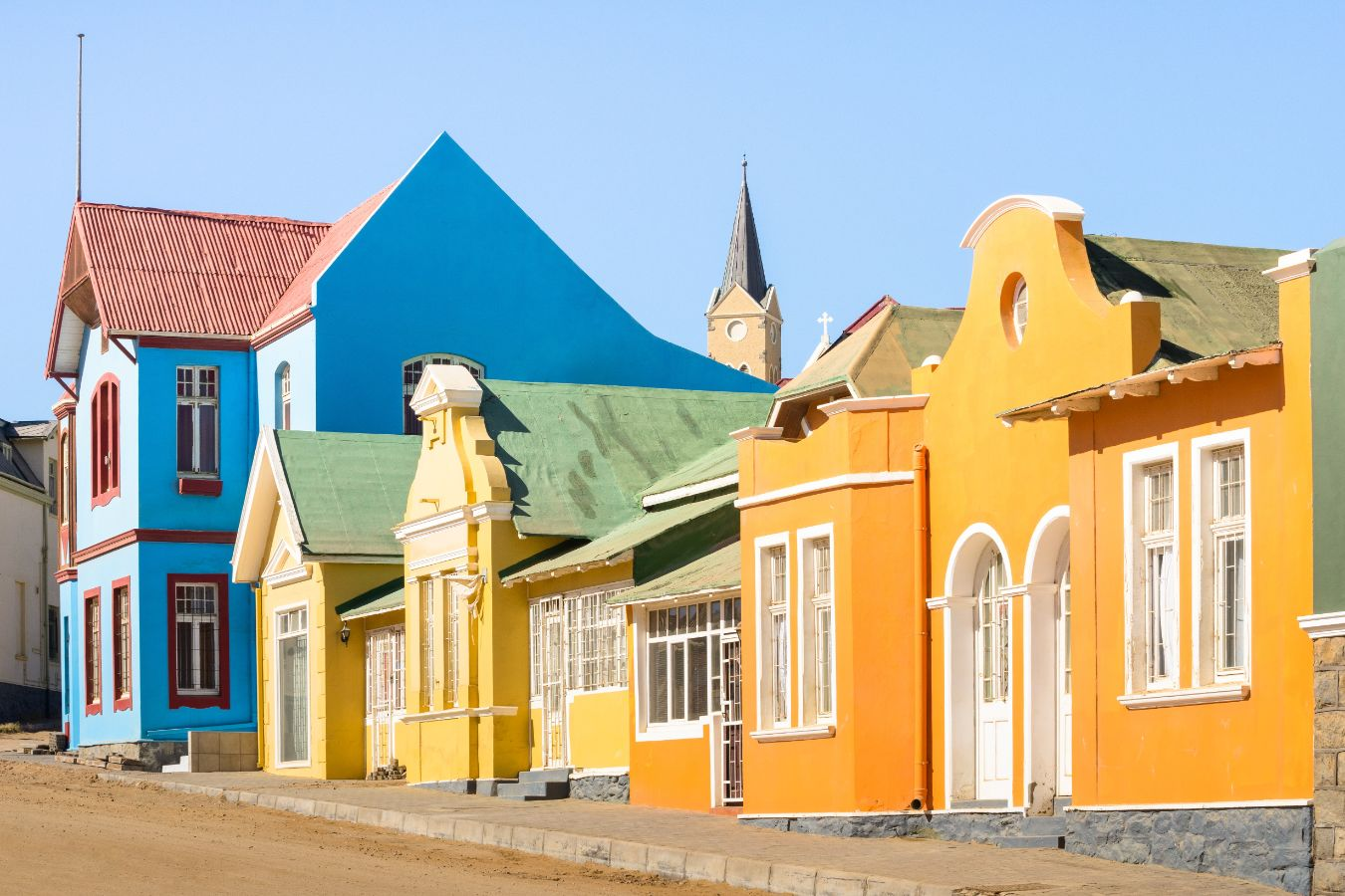 Namibie - Luderitz - Maisons colorées de style germanique colonial